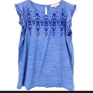 LOFT Chambray Embroidered Flutter Sleeve Top